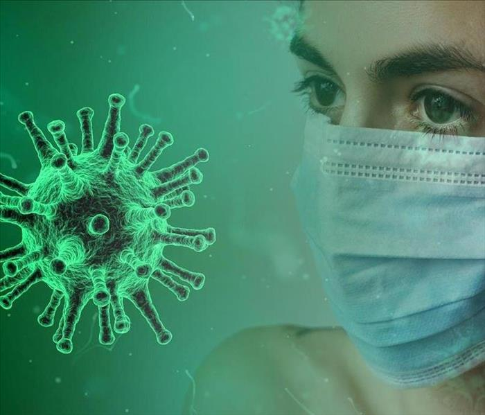 Virus molecule and person with surgical mask on